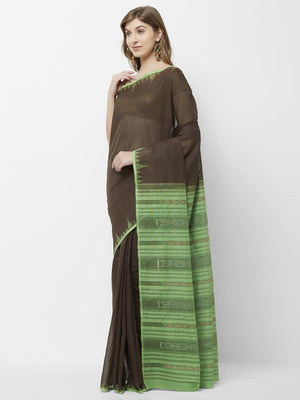 CraftsCollection.in -Brown temple border Odisha Cotton Sambalpuri saree