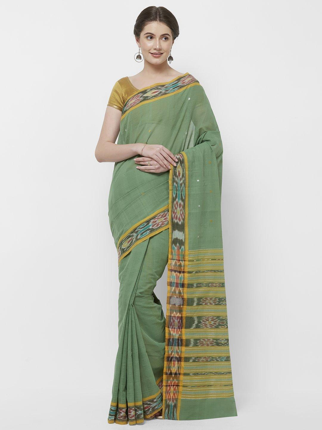 CraftsCollection.in -Green Odisha Cotton Saree with matching Sambalpuri Blouse