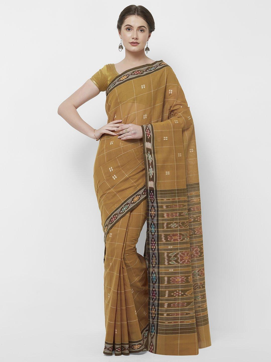 CraftsCollection.in -Mustard Odisha Cotton Saree with matching Sambalpuri Blouse