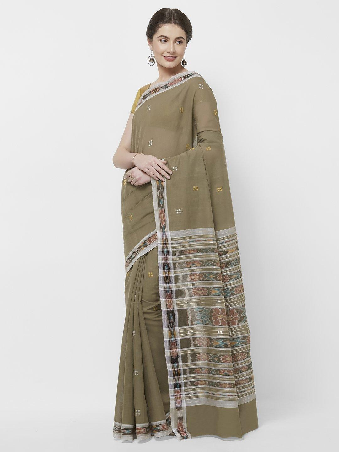 CraftsCollection.in -Grey Odisha Cotton Saree with matching Sambalpuri Blouse