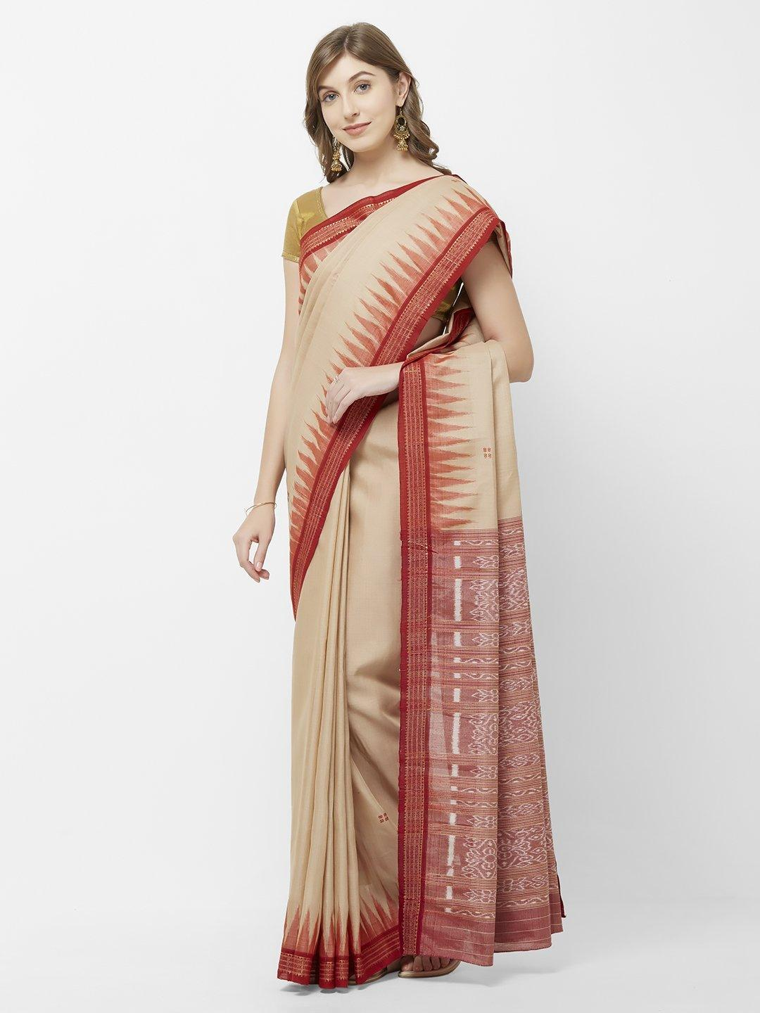 CraftsCollection.in -Beige and Red Cotton Sambalpuri Saree