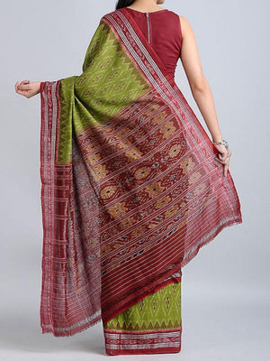 Green and Red Sambalpuri Ikat Cotton Saree