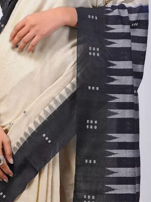 Beige and Black Sambalpuri Cotton Saree
