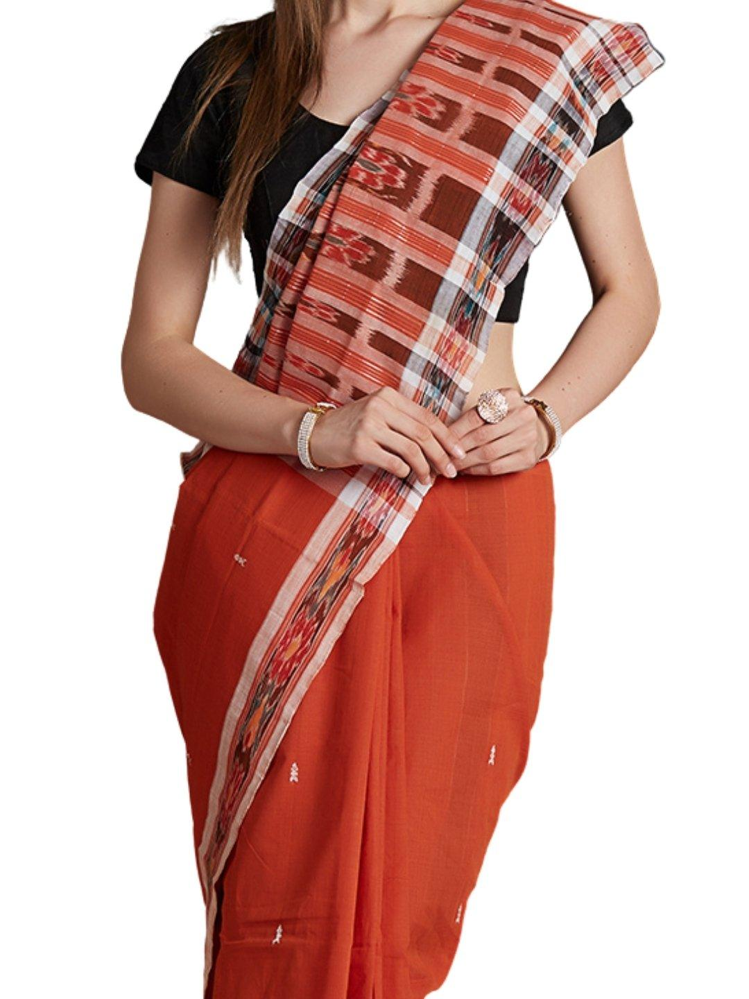 Rust Sambalpuri Cotton Saree