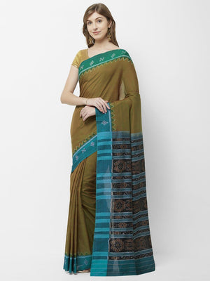 CraftsCollection.in -OliveGreen Gangajamuna Odisha Sambalpuri Ikat Cotton Saree