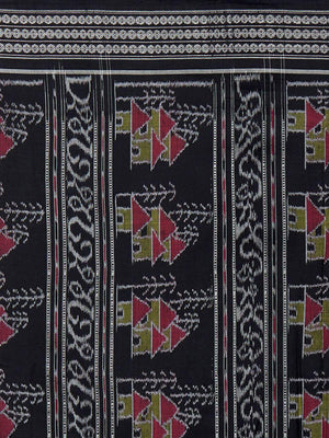 CraftsCollection.in - Black Sambalpuri Bomkai Cotton Saree