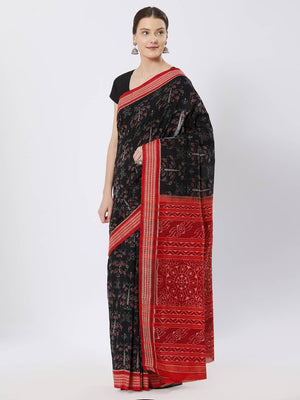 CraftsCollection.in - Black and Red Sambalpuri Bomkai Cotton Saree