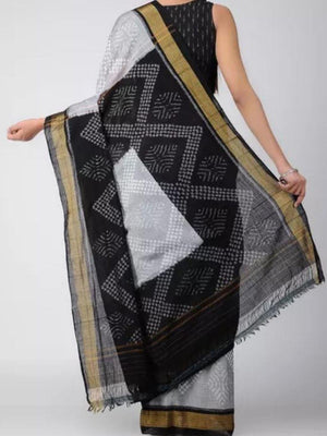 Grey and Black Sambalpuri Cotton Saree