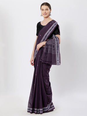 CraftsCollection.in - Purple Badabag Odisha Cotton Saree