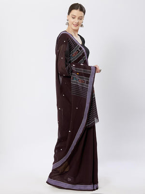 CraftsCollection.in - Brown Badabag Odisha Cotton Saree