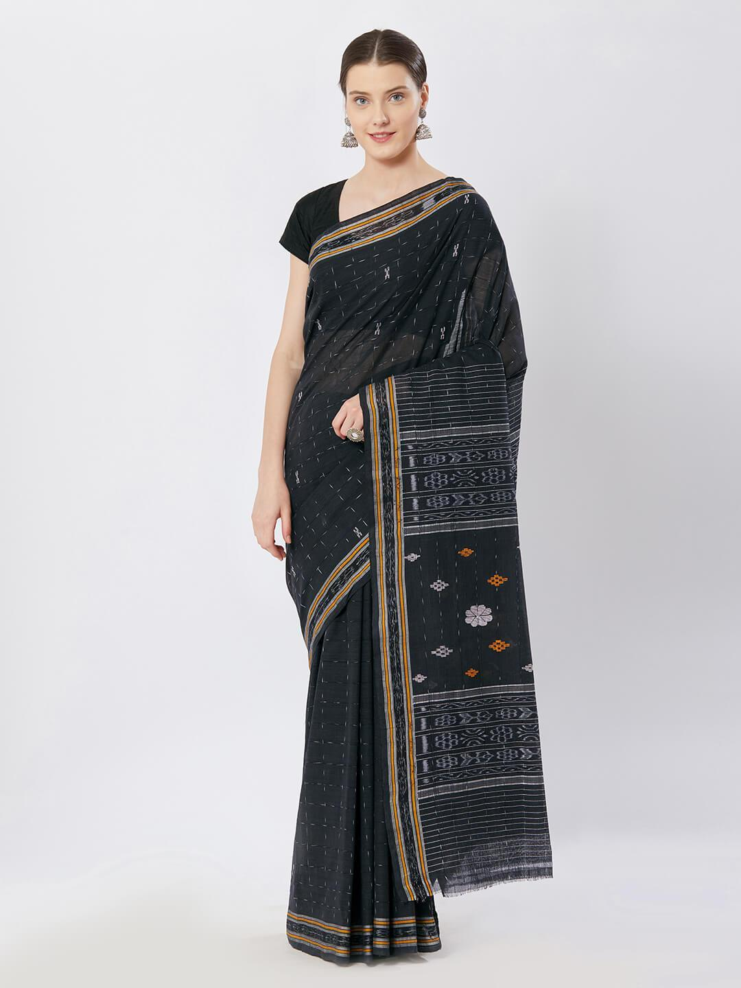 CraftsCollection.in - Grey Badabag Odisha Cotton Saree