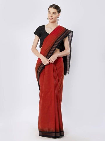 CraftsCollection.in - Red Sambalpuri Cotton Saree