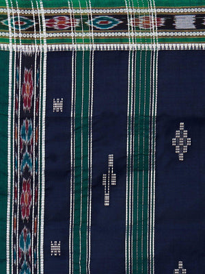 CraftsCollection.in - Navy Badabag Odisha Cotton Saree