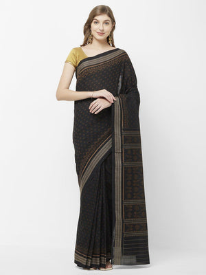 CraftsCollection.in -Black Cotton Sambalpuri Bomkai Saree