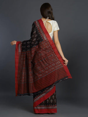 CraftsCollection.in - Black Sambalpuri Bandha Cotton Saree
