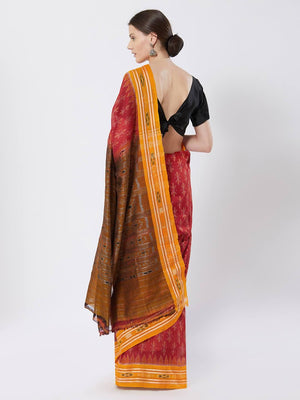CraftsCollection.in - Red Yellow Sambalpuri Bandha Cotton Saree