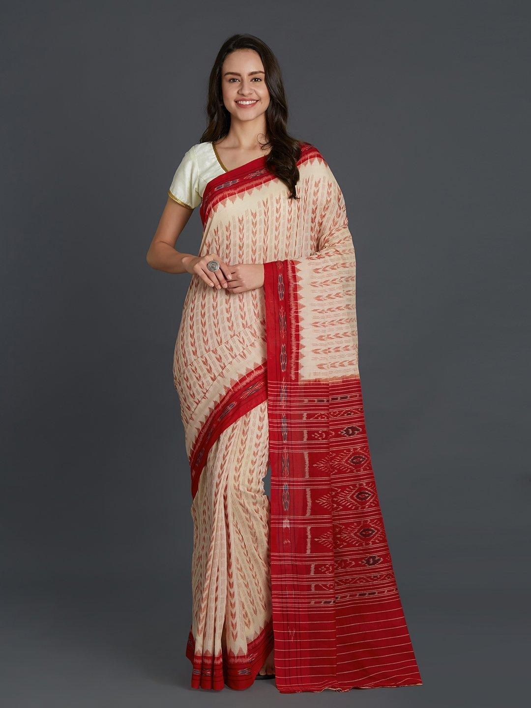 CraftsCollection.in - Offwhite and Red Sambalpuri Bandha Cotton Saree