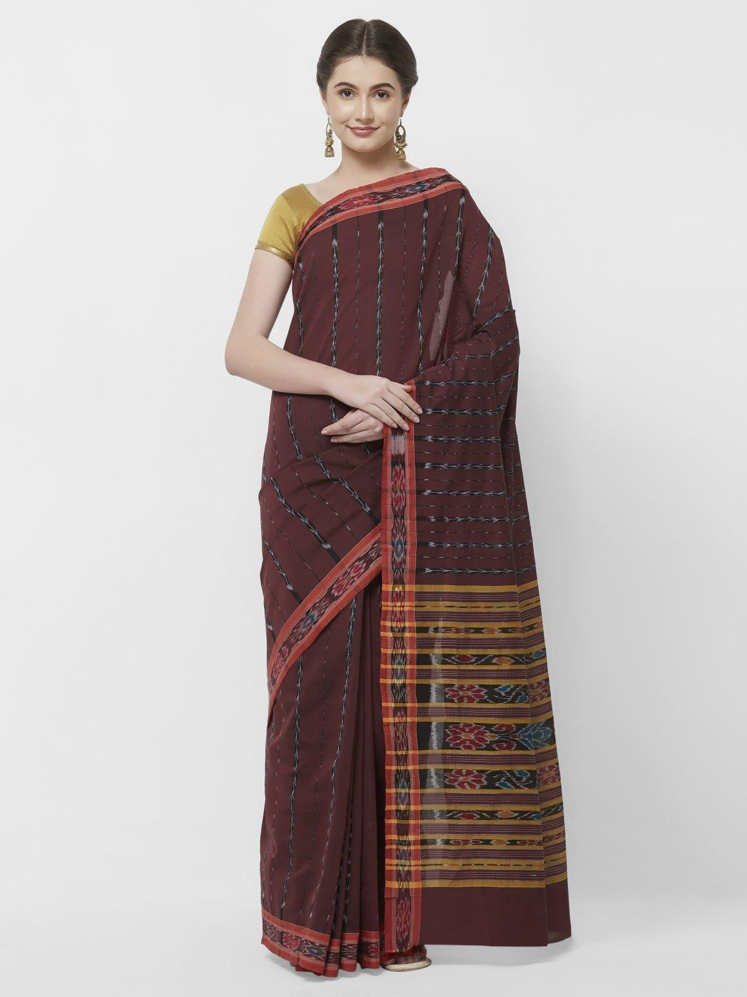 CraftsCollection.in -Maroon Odisha Cotton Saree with matching Sambalpuri Blouse