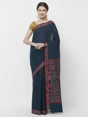 CraftsCollection.in -Blue Cotton Sambalpuri Saree