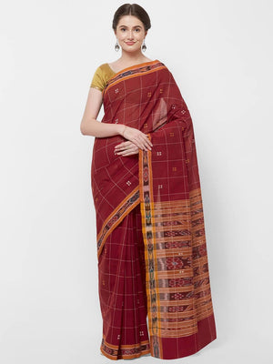 CraftsCollection.in -Red Odisha Cotton Saree with matching Sambalpuri Blouse