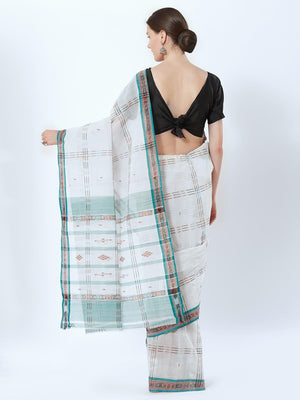CraftsCollection.in - Off-White Badabag Odisha Cotton Saree