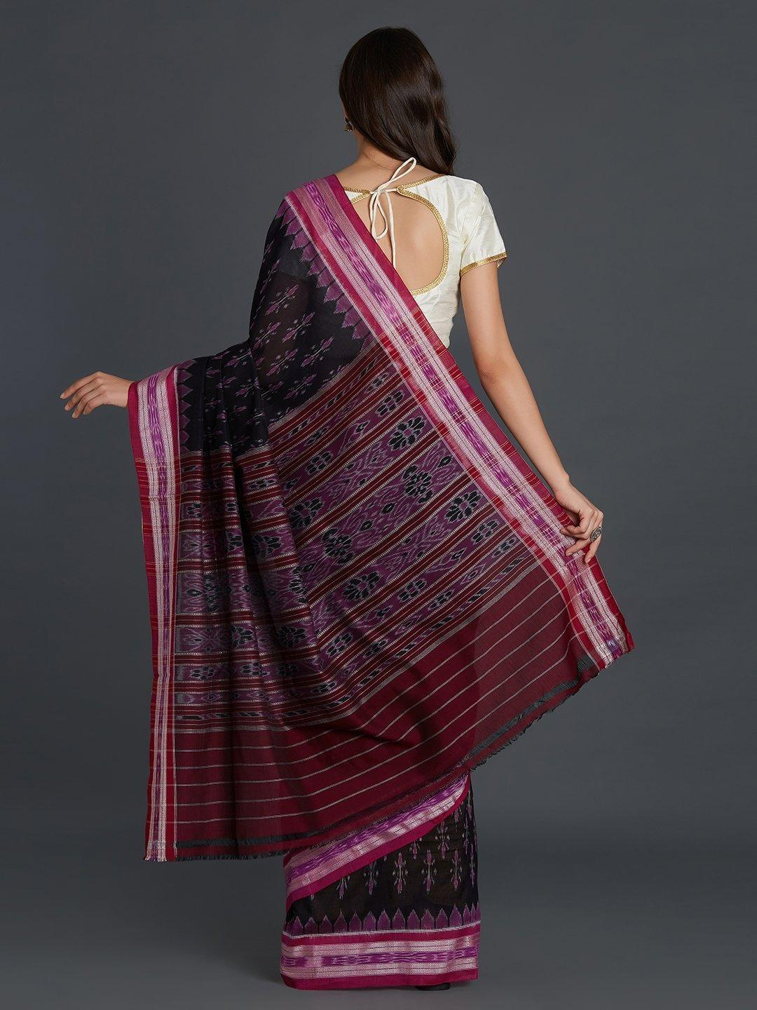 Black and Pink Sambalpuri Bandha Cotton Saree
