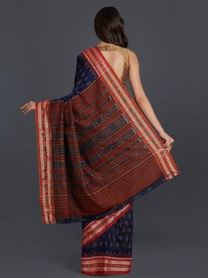 CraftsCollection.in - Blue with Rust Sambalpuri Cotton Saree