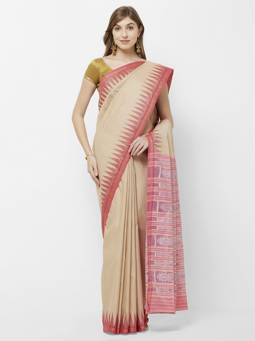 CraftsCollection.in -Beige and Pink  Cotton Sambalpuri Saree