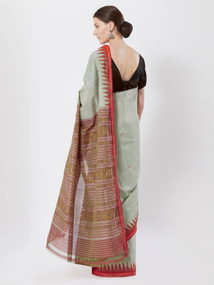 CraftsCollection.in - Green Red Bapta Cotton Sambalpuri Saree