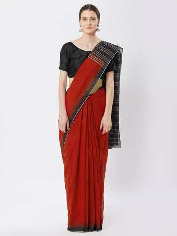 CraftsCollection.in - Red Temple Border Sambalpuri Cotton Saree