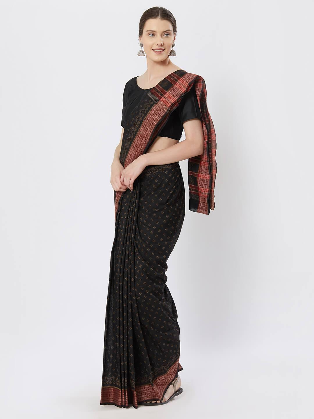 CraftsCollection.in - Black Bomkai Cotton Saree with Woven Motifs
