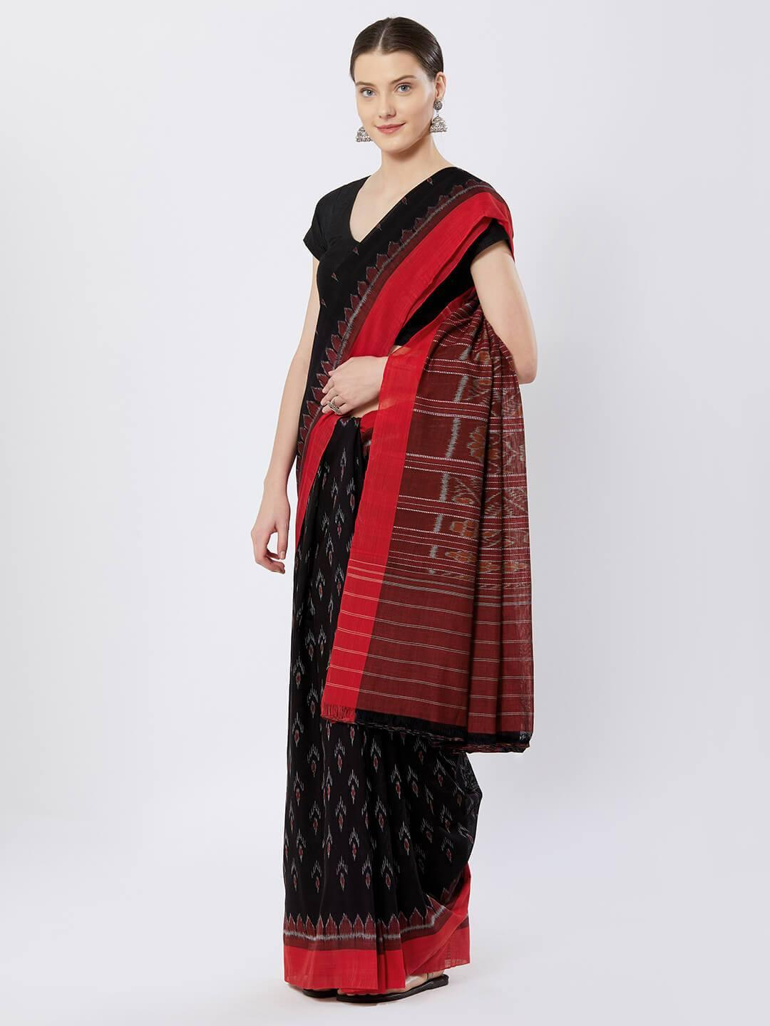 CraftsCollection.in - Black and Red Sambalpuri Bandha Cotton Saree