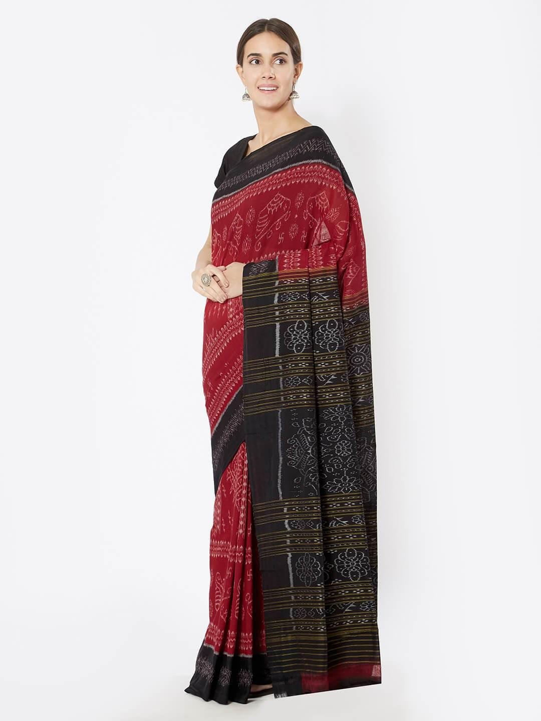 CraftsCollection.in - Red and Black Sambalpuri double ikat Cotton Saree