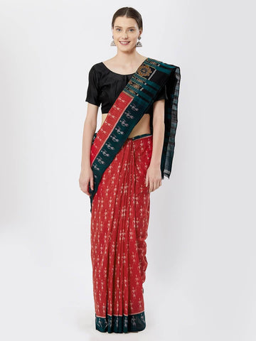 CraftsCollection.in - Red and Green Sambalpuri Cotton Saree