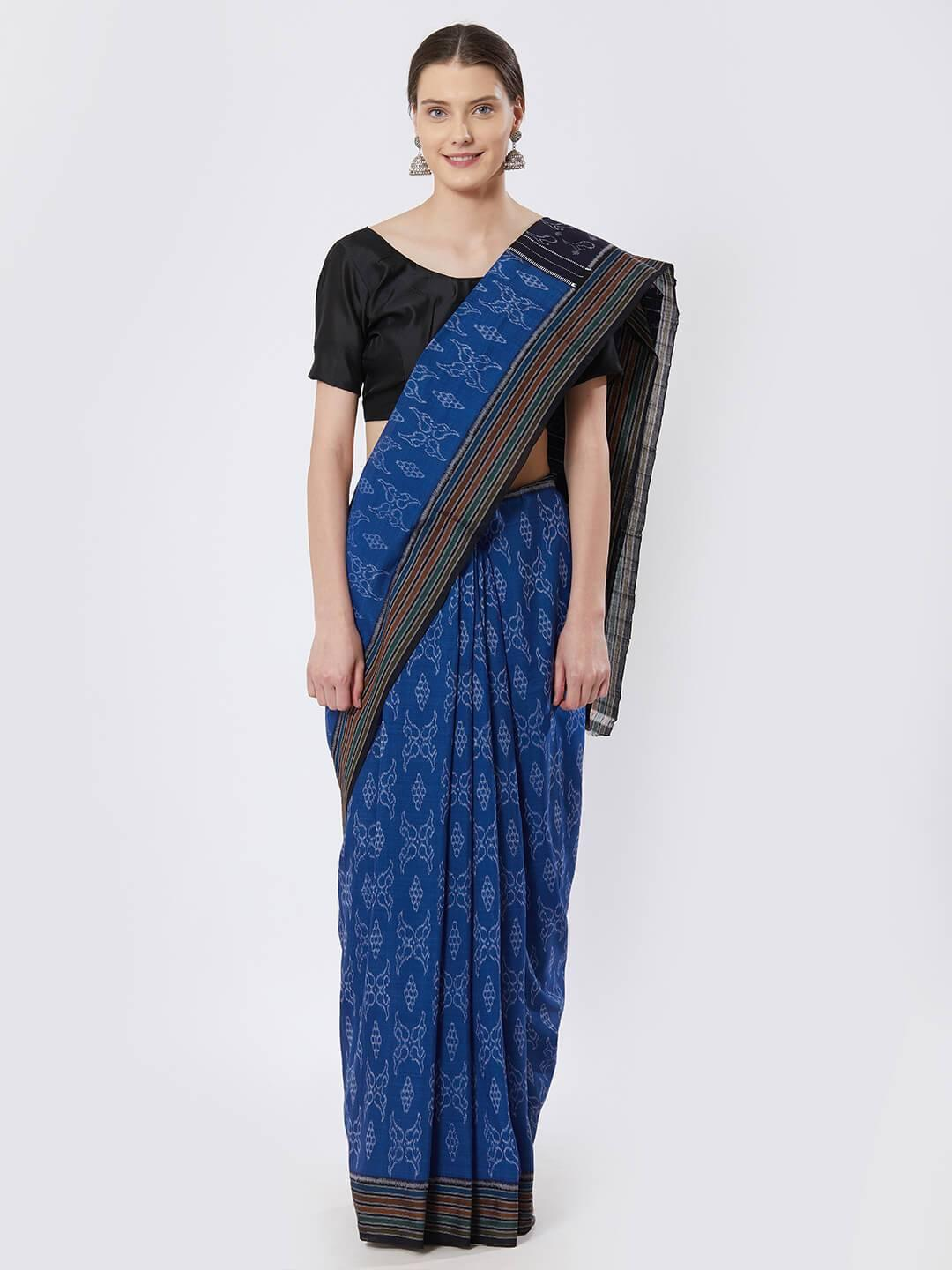 CraftsCollection.in - Blue Sambalpuri Bandha Cotton Saree