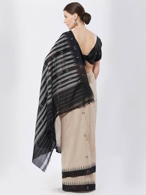 CraftsCollection.in - Beige and Black Sambalpuri Cotton Saree