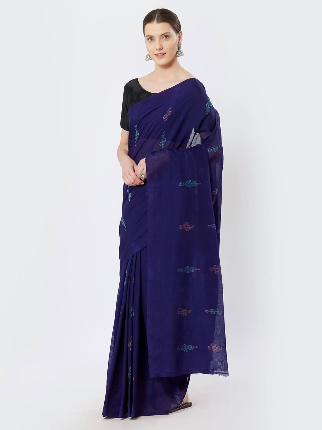CraftsCollection.in - Purple Sambalpuri Cotton Saree