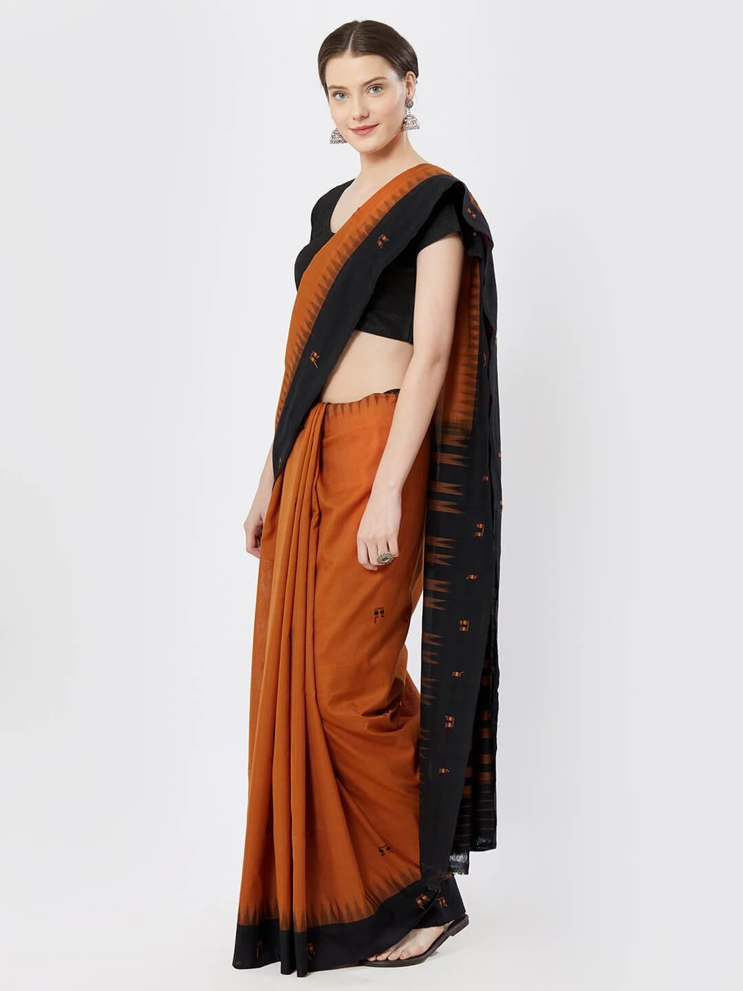 Brown & Black Sambalpuri Cotton Saree