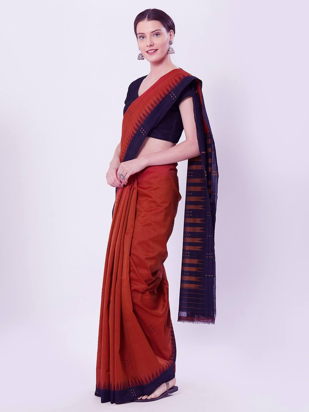 Rust & Black Sambalpuri Cotton Saree