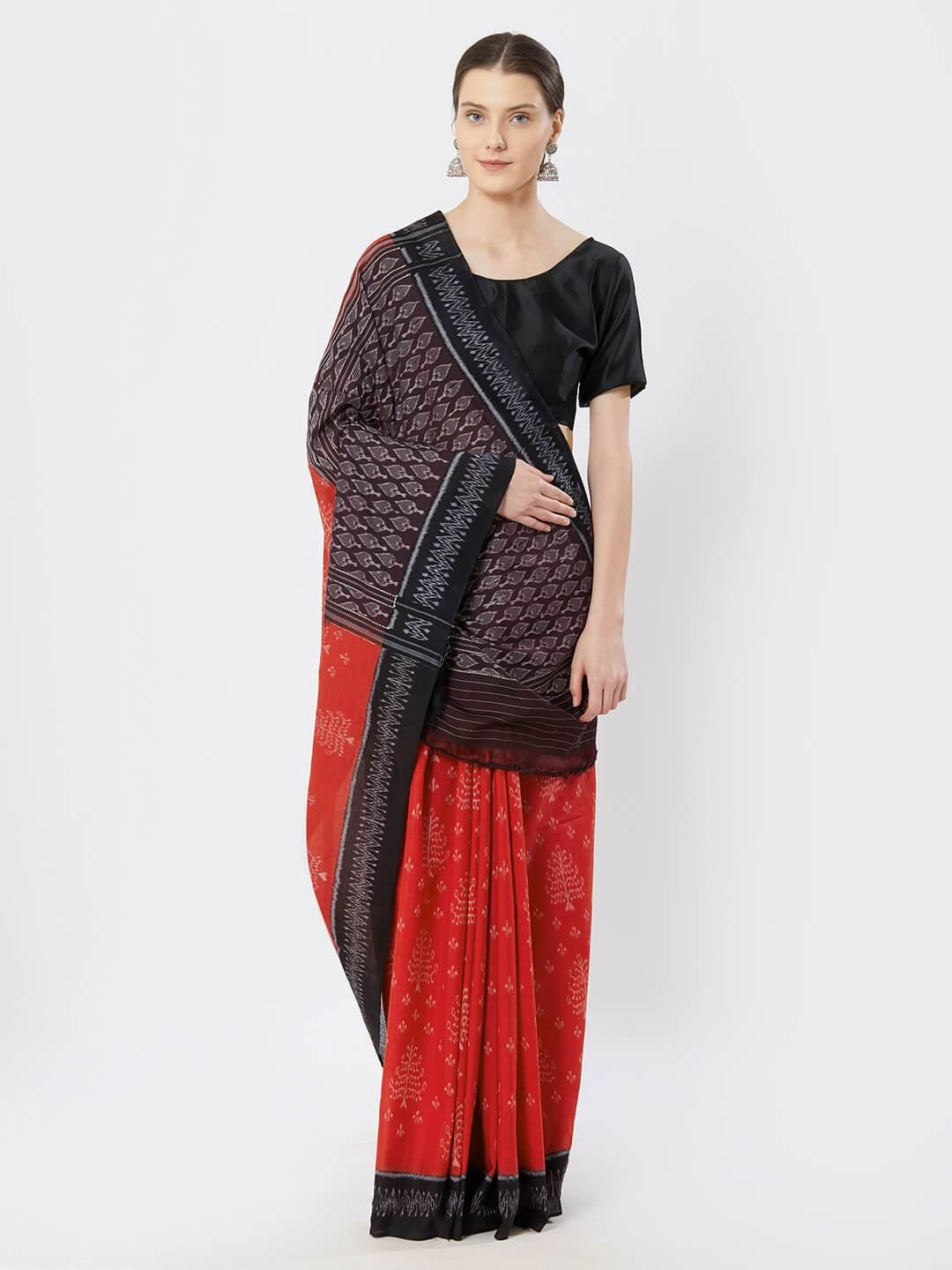 Red & Black Sambalpuri Ikat Saree