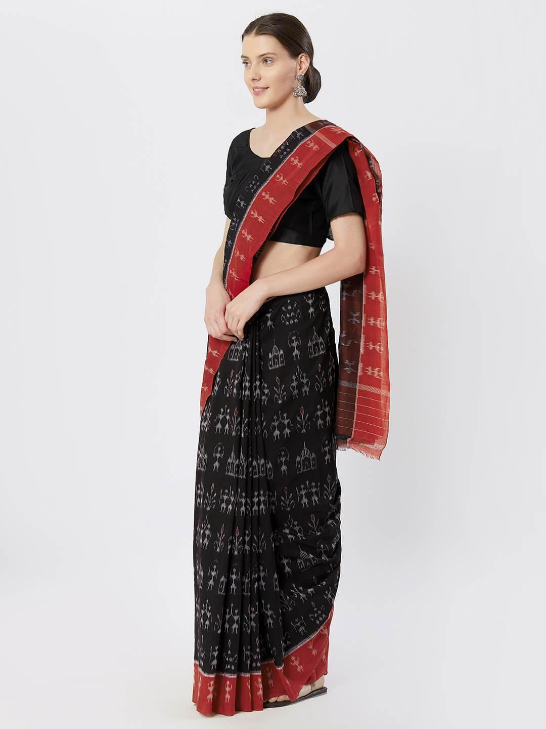 Black & Red Sambalpuri Double Ikat Saree