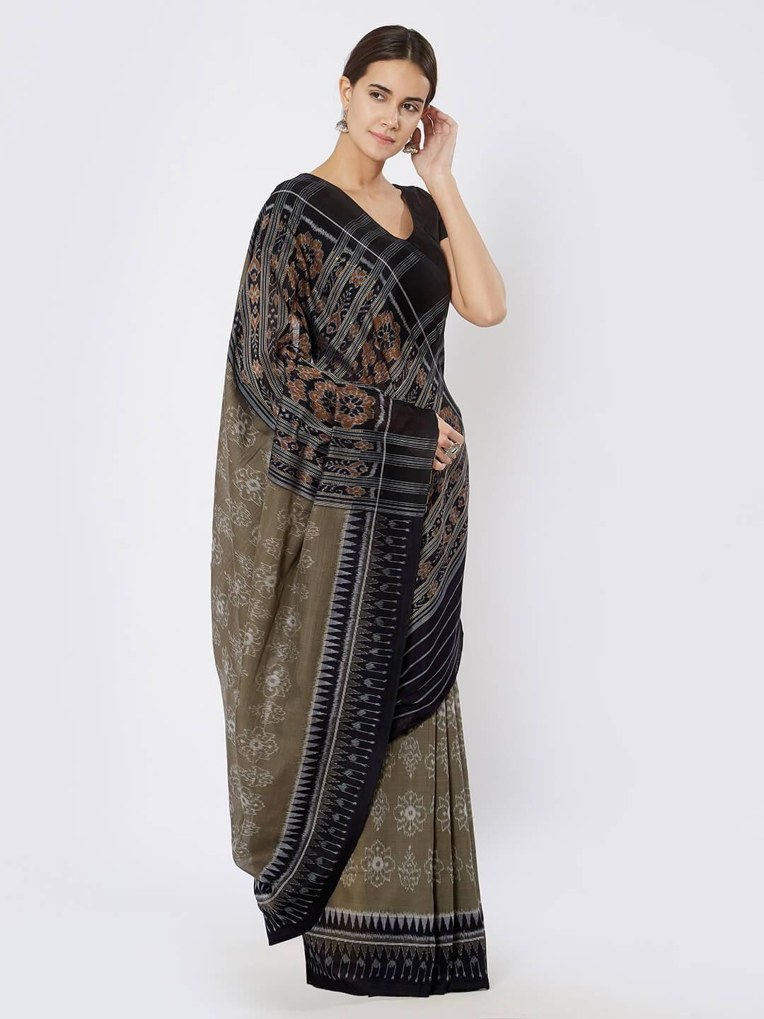 CraftsCollection.in - Grey & Black Sambalpuri Double Ikat Saree