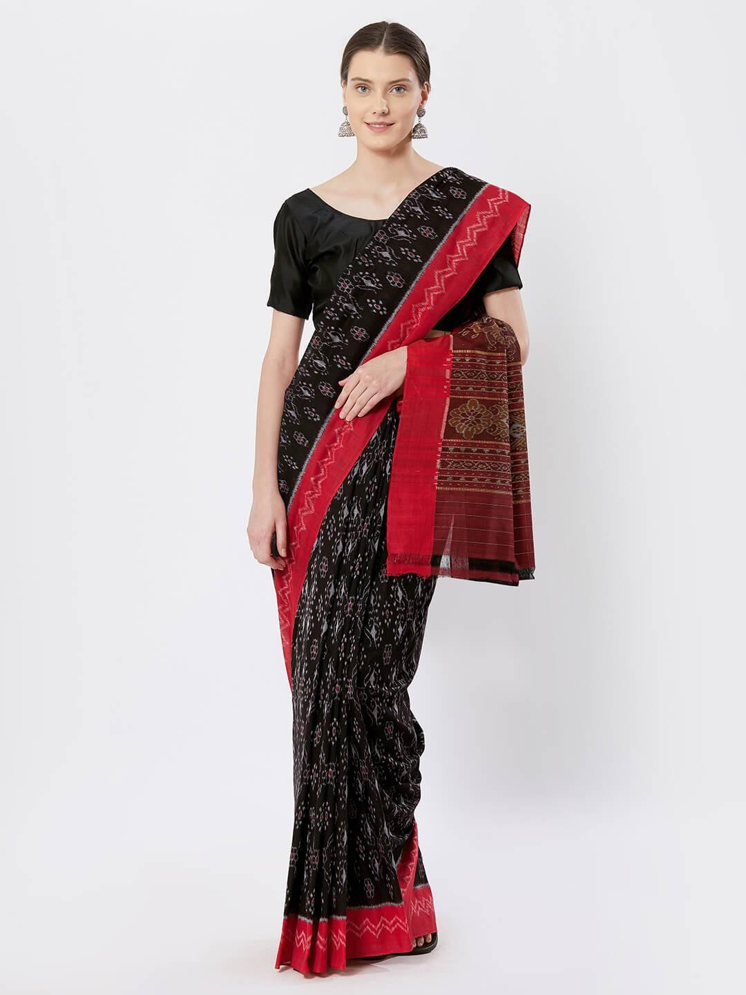 CraftsCollection.in - Black and Red Sambalpuri double Ikat Saree