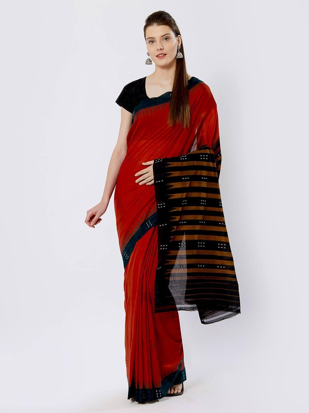 Red & Green Sambalpuri Cotton Saree