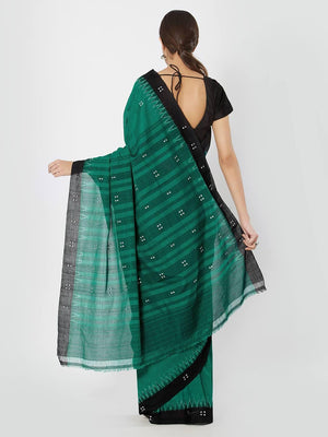CraftsCollection.in - Green & Black Sambalpuri Cotton Saree