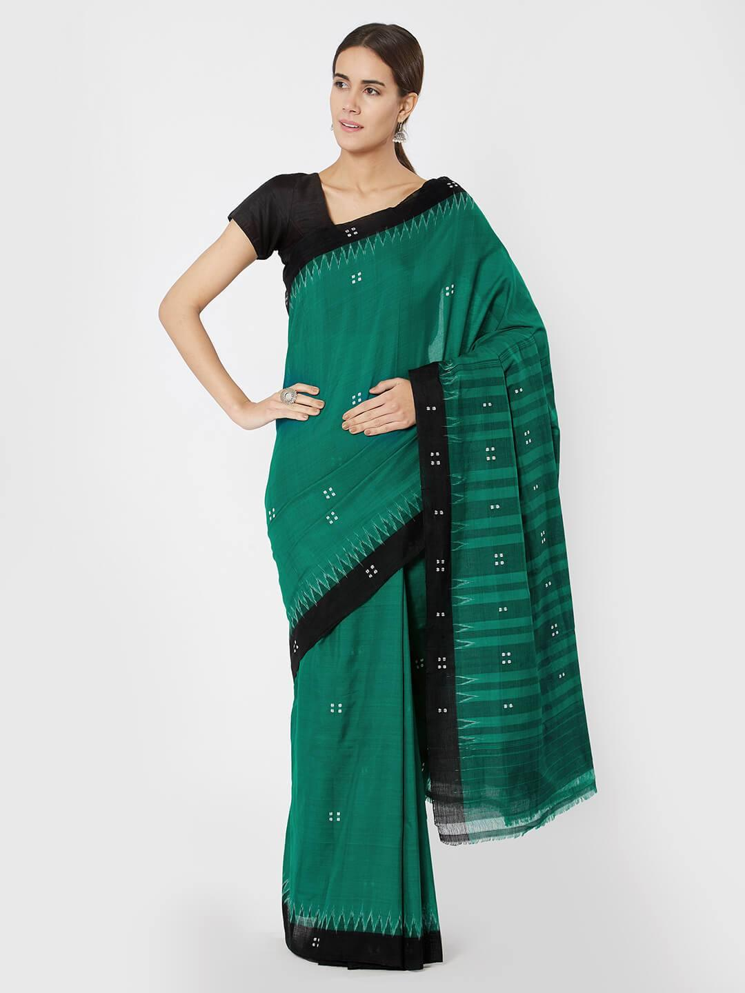 Green & Black Sambalpuri Cotton Saree