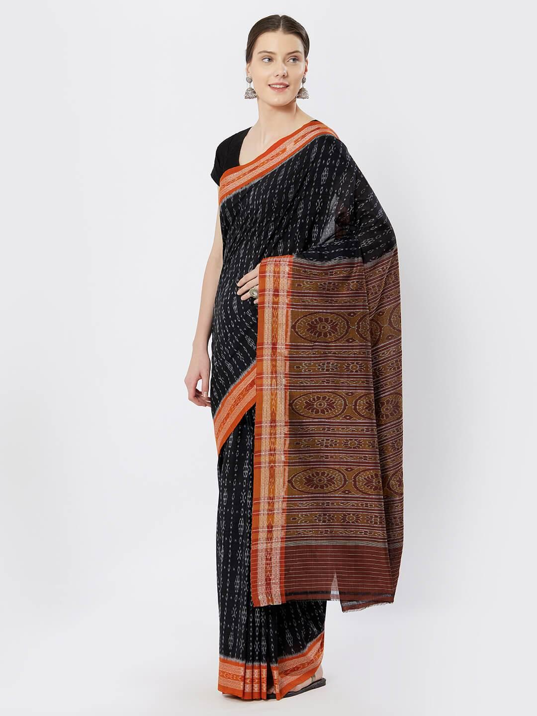 CraftsCollection.in - Black Sambalpuri double ikat Cotton Saree