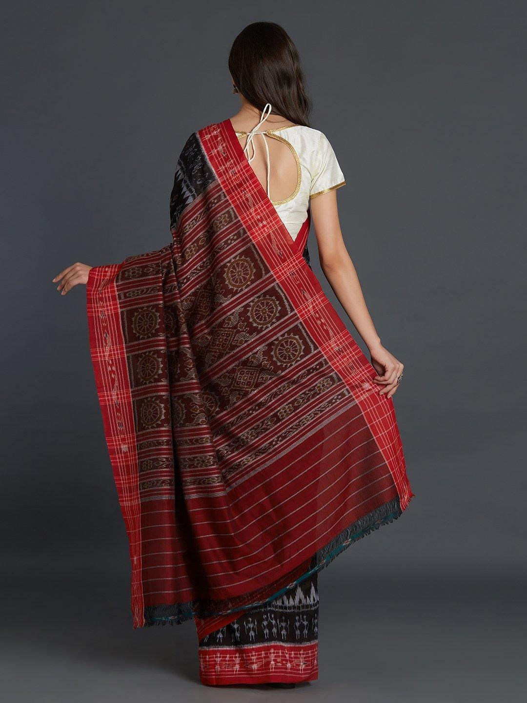 Black Sambalpuri double ikat Cotton Saree