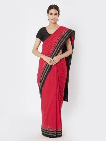 CraftsCollection.in - Red  Sambalpuri Bomkai Cotton Saree