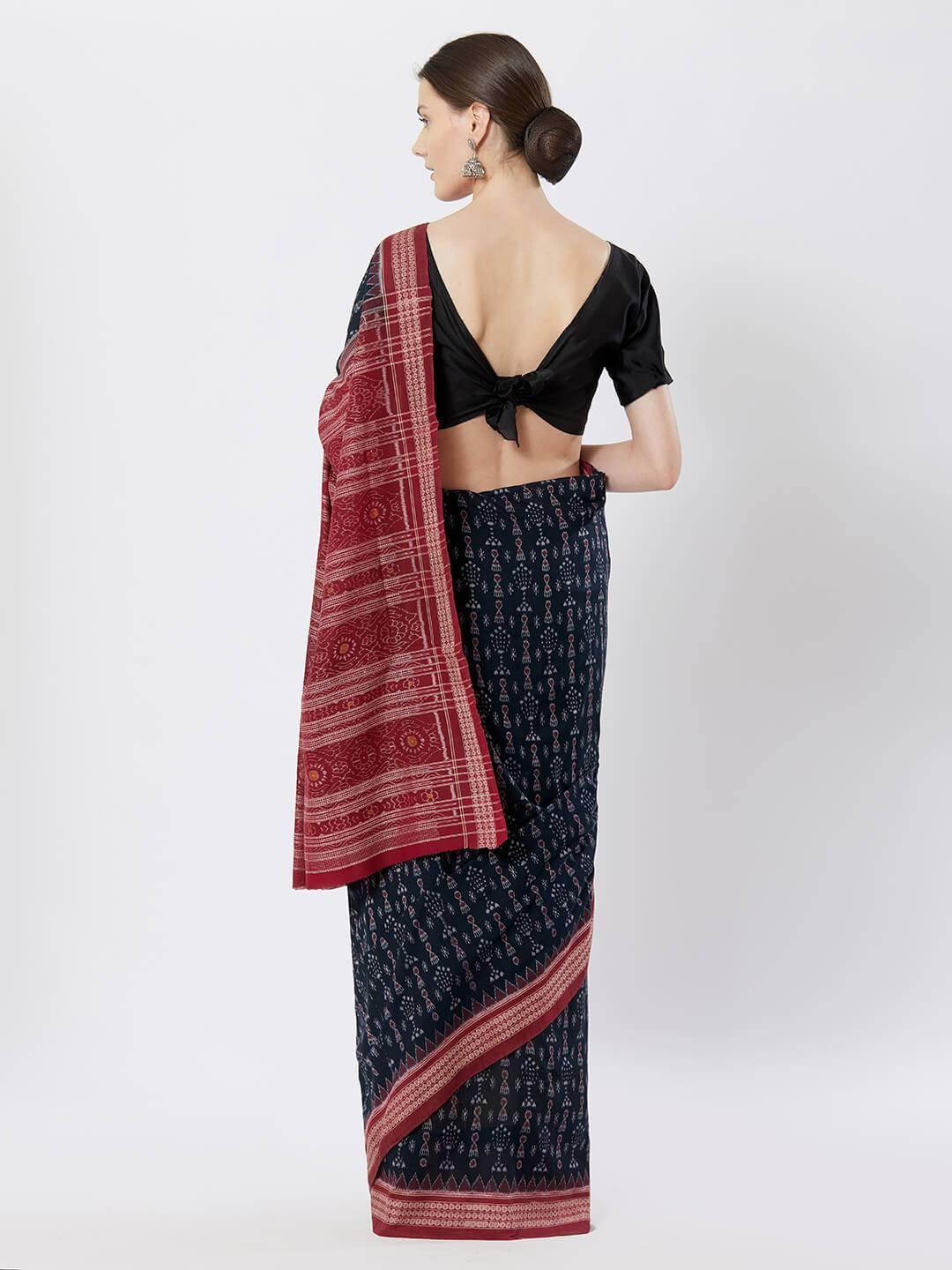CraftsCollection.in - Blue Sambalpuri Bomkai Cotton Saree